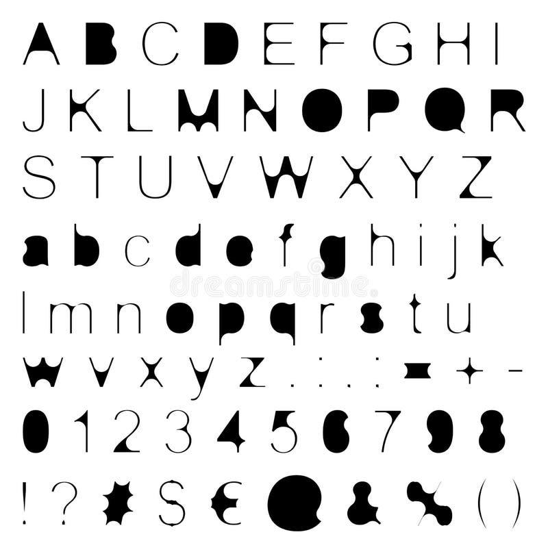 Mager vul Retro Grote Doopvont & Kleine letters met Tekens & Aantallen royalty-vrije illustratie