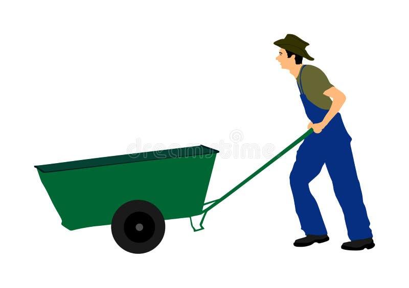 Magere landbouwer, of bouwvakker met kruiwagen vectorillustratie royalty-vrije illustratie