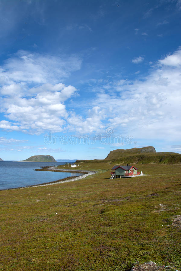 Mageroya, Norway. Mageroya is a large island in Finnmark county, in the extreme northern part of Norway. The island lies along the Barents Sea in Nordkapp stock photo