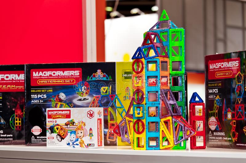 Magformers kids magnet constructor game. Magformers is the industry leader in magnetic building toys for children stock image