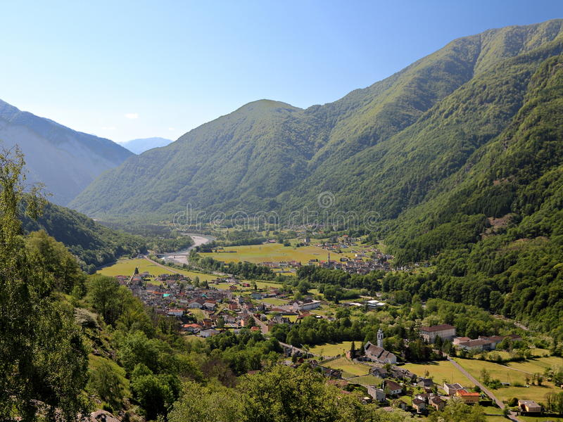 Download Maggia valley town stock photo. Image of hill, framed - 15673802