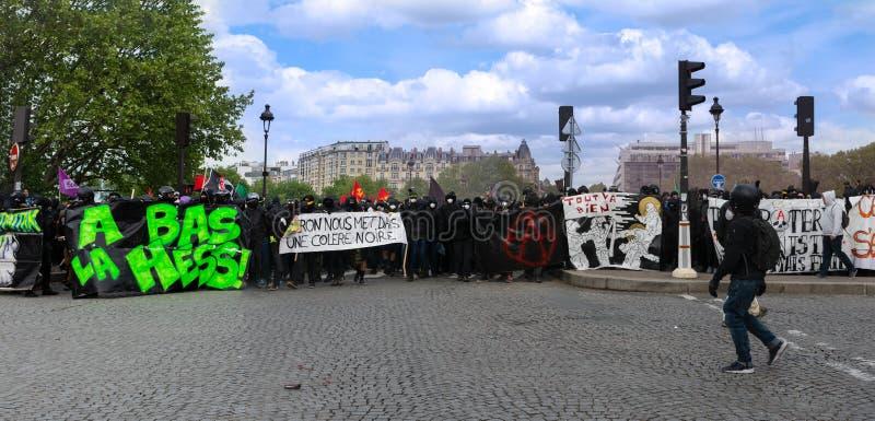Maggio 2018 - anti protesta di Macron a Parigi immagine stock