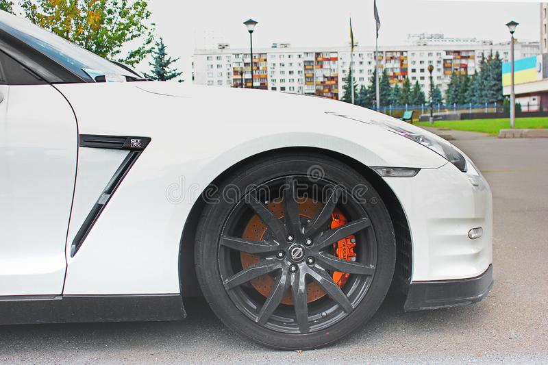 5 maggio 2017; L'Ucraina, Kiev Nissan GT-R fotografie stock