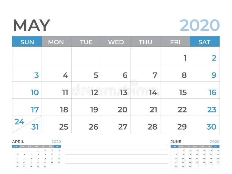 Maggio 2020 modello del calendario, dimensione 8 x a 6 pollici, progettazione del pianificatore, inizio del layout calendario di  illustrazione di stock