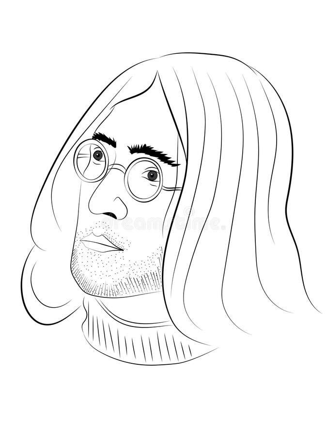 31 MAGGIO 2018 Schizzo digitale disegnato a mano di John Lennon, uso editoriale illustrazione di stock