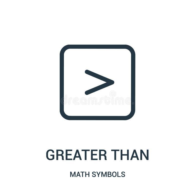 maggior del vettore dell'icona dalla raccolta di simboli di per la matematica Linea sottile maggior dell'illustrazione di vettore illustrazione vettoriale