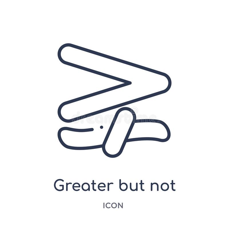 Maggior ma icona non equivalente lineare dalla raccolta del profilo di istruzione Linea sottile maggior ma icona non equivalente  illustrazione di stock