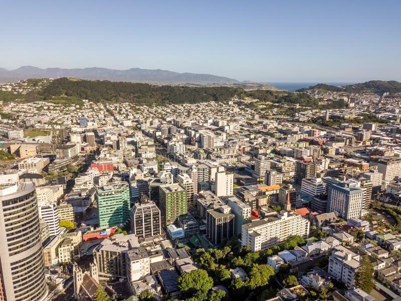 Maggior punto di vista di Wellington City Aerial Point Of fotografia stock libera da diritti
