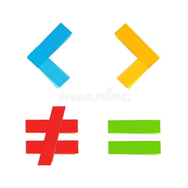 Maggior uguale di base di simboli matematici meno illustrazione vettoriale