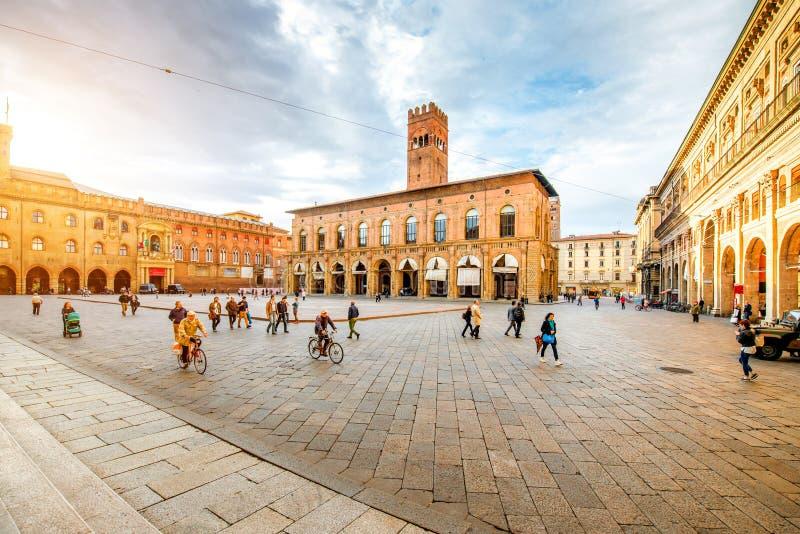 Maggiore kwadrat w Bologna mieście obrazy royalty free