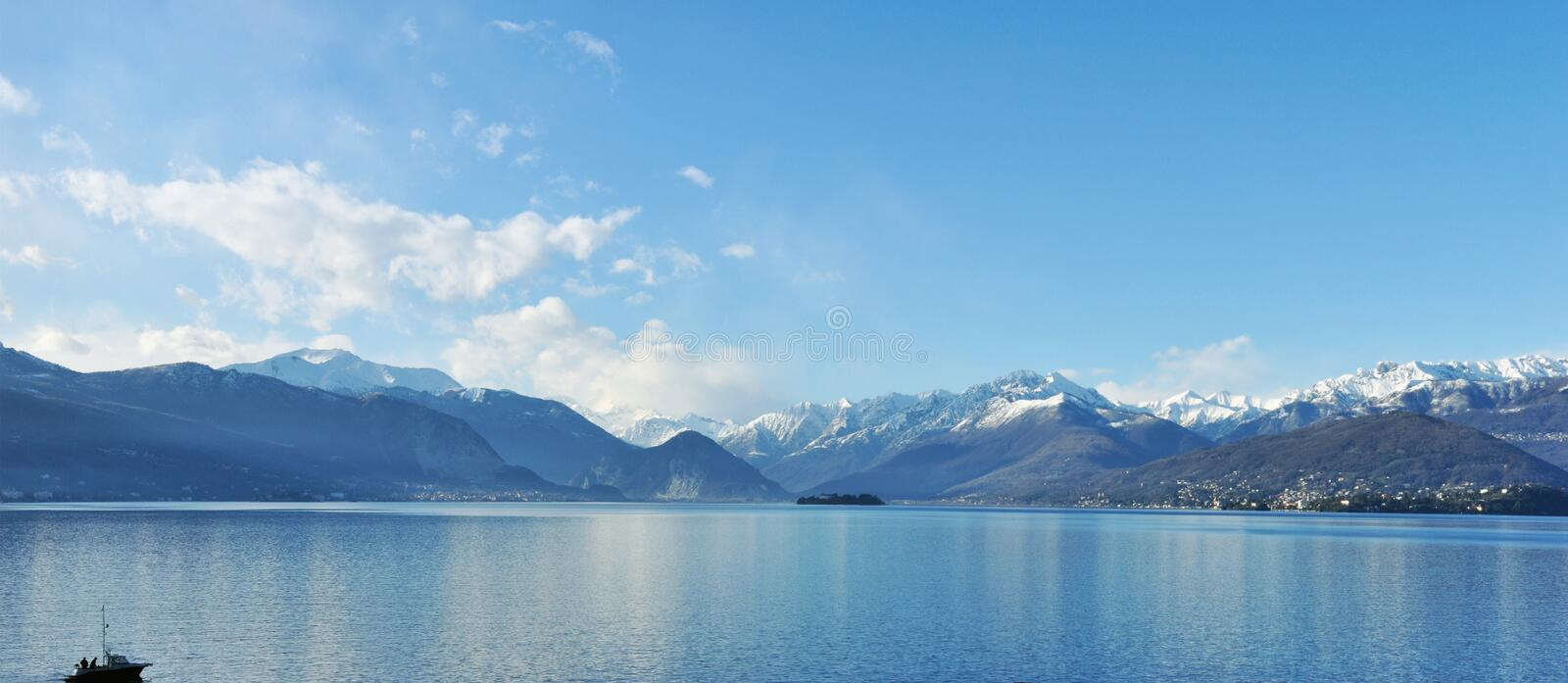 Maggiore lake panorama royalty free stock photos