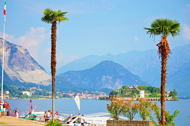 Maggiore Lake scenic view Isola Bella,Alps Mountains Italy royalty free stock images
