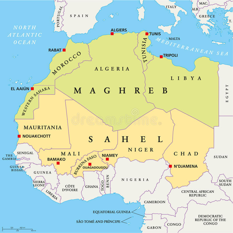 Free Maghreb And Sahel Political Map Stock Photos - 47920053