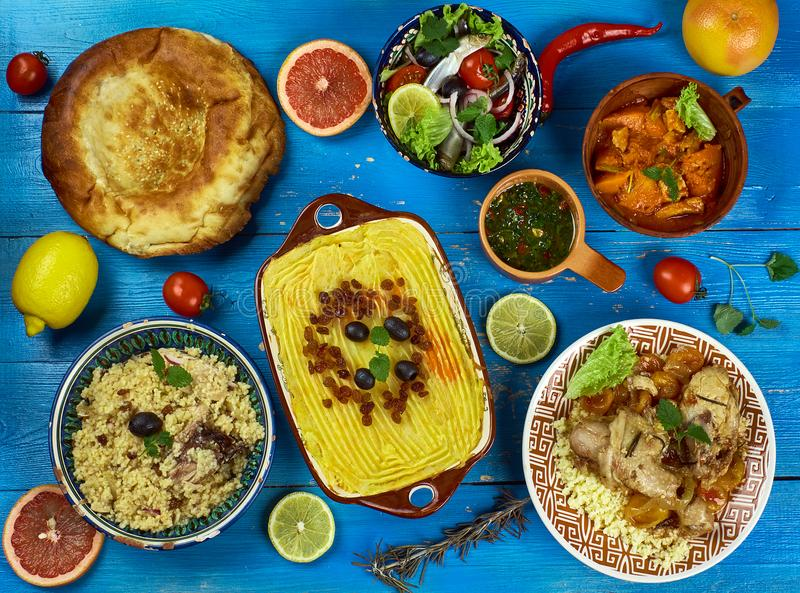 Maghreb cuisine. Traditional assorted Maghreb dishes, Top view stock photos