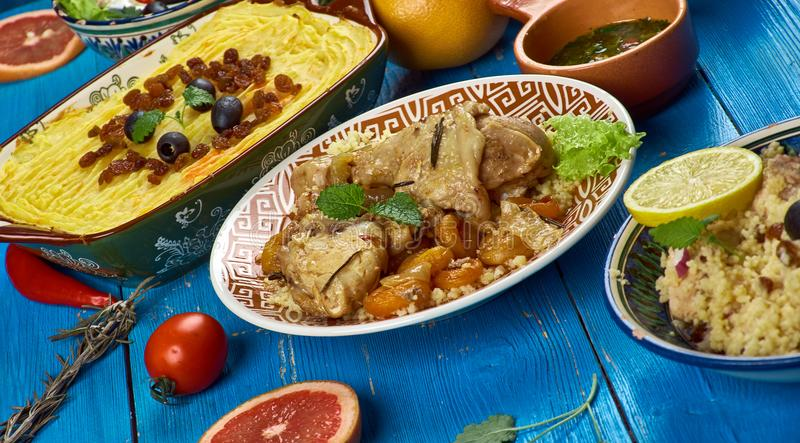 Maghreb cuisine. Traditional assorted Maghreb dishes, Top view stock photography