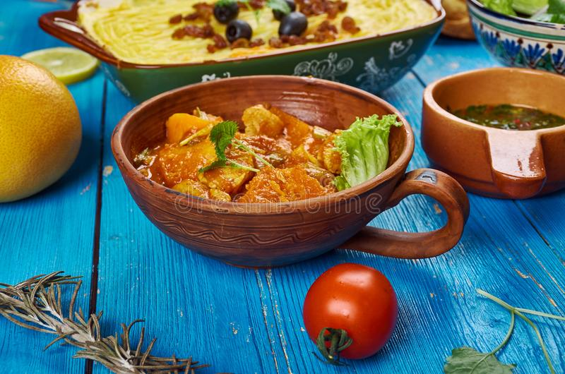 Maghreb cuisine. Traditional assorted Maghreb dishes, Top view royalty free stock photography