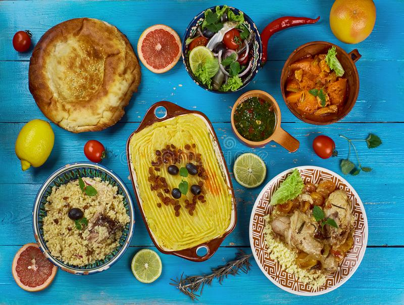 Maghreb cuisine. Traditional assorted Maghreb dishes, Top view stock images