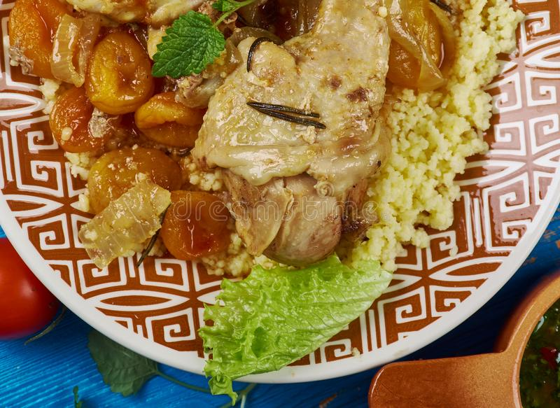 Maghreb Moroccan Apricot Chicken. Maghreb cuisine . Traditional Moroccan Apricot Chicken stock image