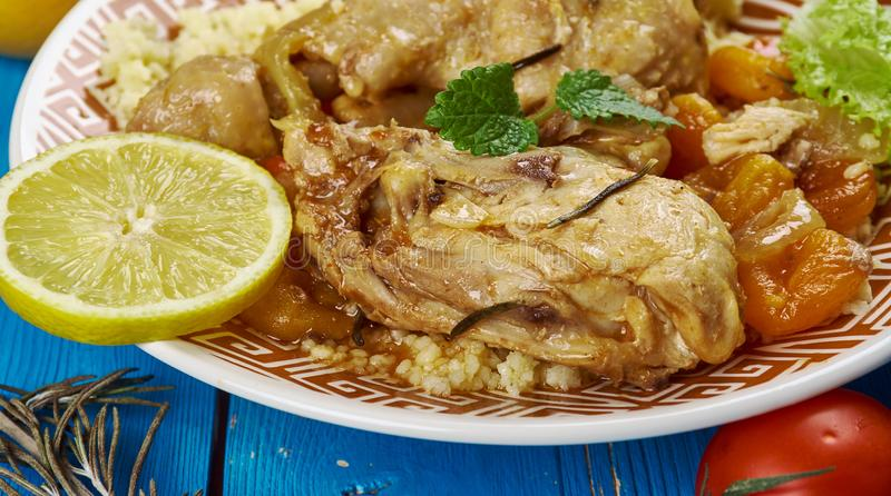 Maghreb Moroccan Apricot Chicken. Maghreb cuisine . Traditional Moroccan Apricot Chicken stock photography