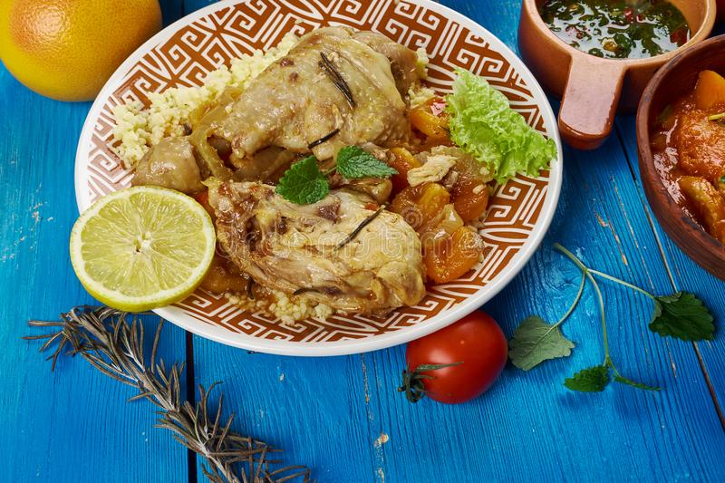 Maghreb Moroccan Apricot Chicken. Maghreb cuisine . Traditional Moroccan Apricot Chicken royalty free stock images