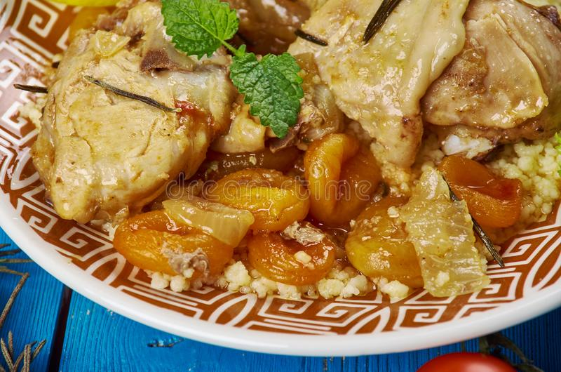Maghreb Moroccan Apricot Chicken. Maghreb cuisine . Traditional Moroccan Apricot Chicken stock photo