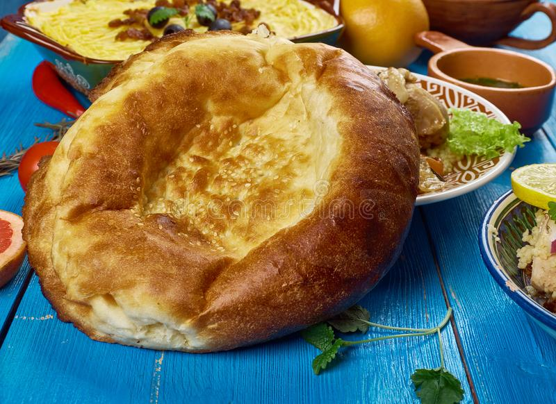 Maghreb Moroccan bread. Maghreb cuisine . Traditional Moroccan bread , Top view royalty free stock photo