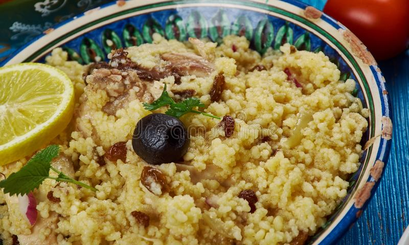 Maghreb Seksu Tanjaoui. Maghreb cuisine . Traditional Seksu Tanjaoui - Couscous in the style of Tangier royalty free stock photos
