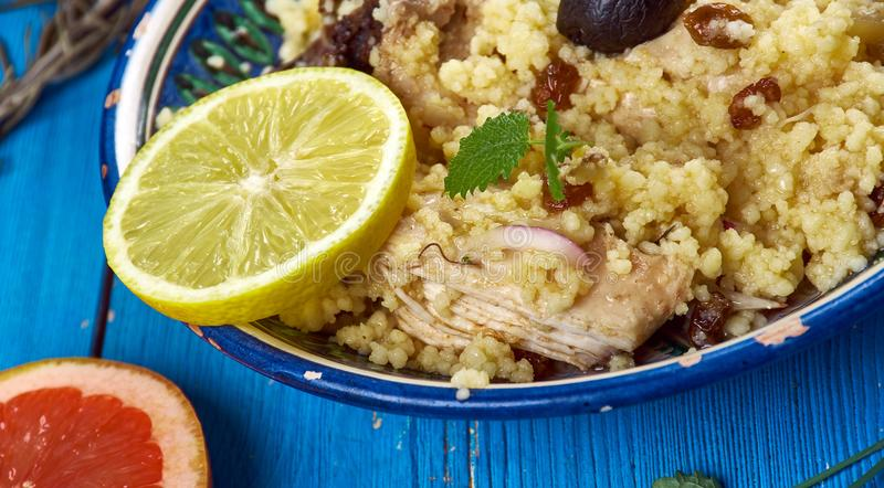 Maghreb Seksu Tanjaoui. Maghreb cuisine . Traditional Seksu Tanjaoui - Couscous in the style of Tangier stock photos