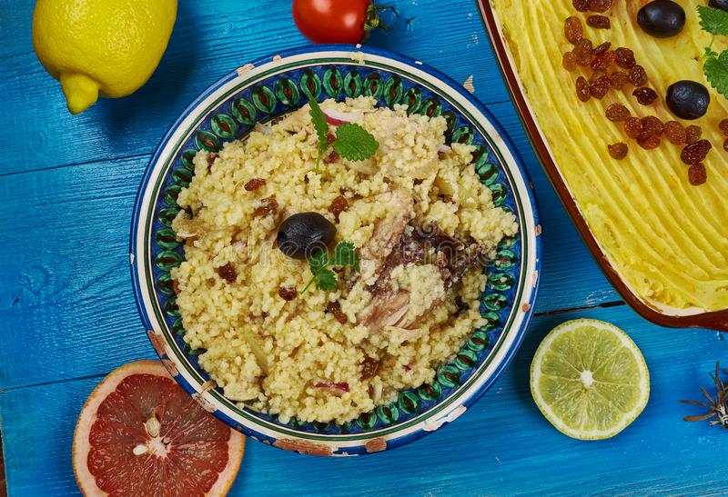 Maghreb Seksu Tanjaoui. Maghreb cuisine . Traditional Seksu Tanjaoui - Couscous in the style of Tangier stock images