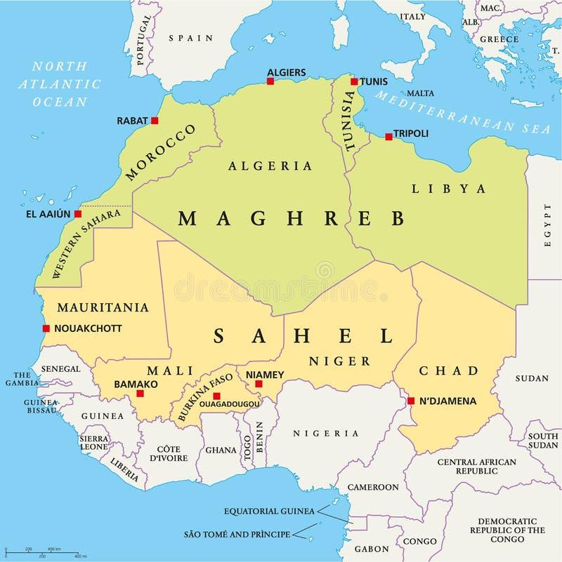 Maghreb i Sahel Polityczna mapa