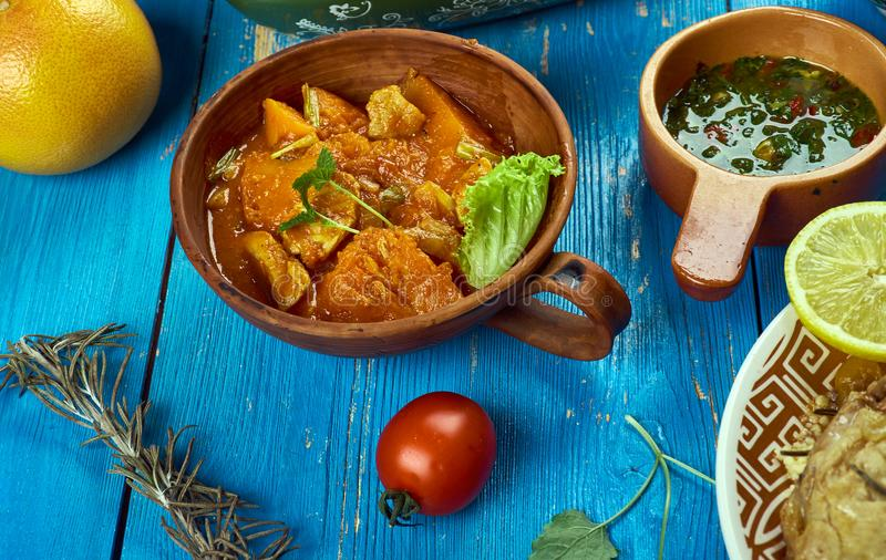 Maghreb Mahfe stew. Maghreb cuisine . Traditional Mahfe stew - Mauritanian meat, pumpkin stew in peanut sauce royalty free stock photography