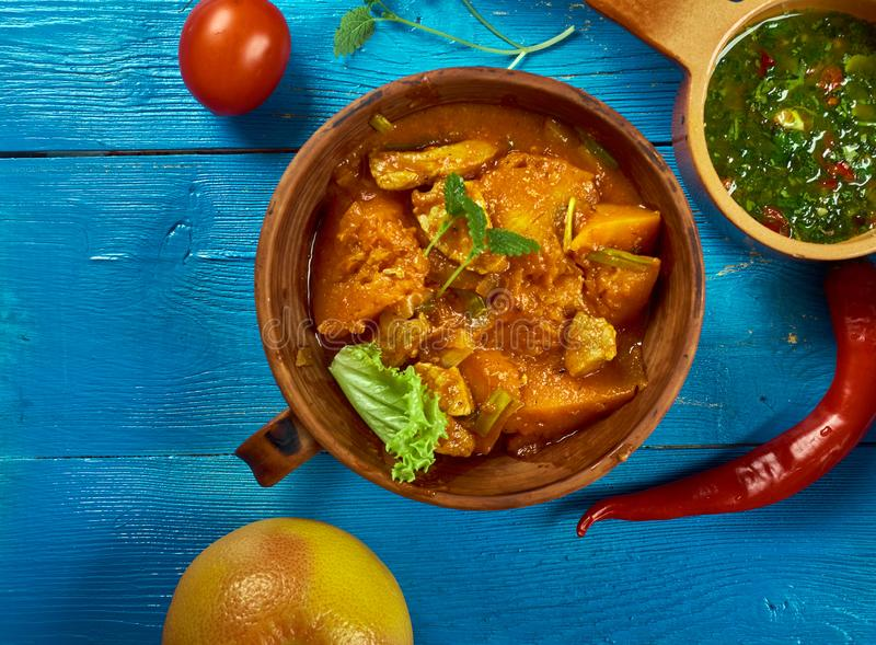 Maghreb Mahfe stew. Maghreb cuisine . Traditional Mahfe stew - Mauritanian meat, pumpkin stew in peanut sauce stock photo
