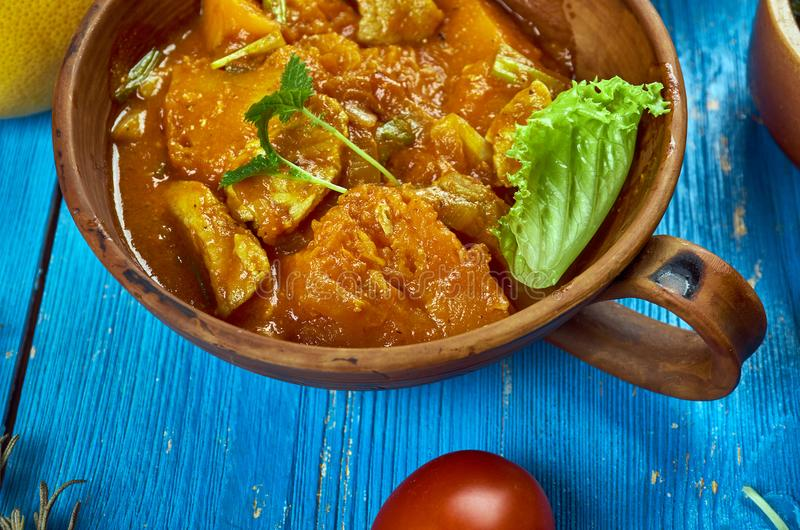 Maghreb Mahfe stew. Maghreb cuisine . Traditional Mahfe stew - Mauritanian meat, pumpkin stew in peanut sauce stock images