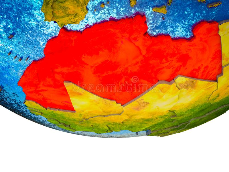 Maghreb region on 3D Earth. With divided countries and watery oceans. 3D illustration stock photos