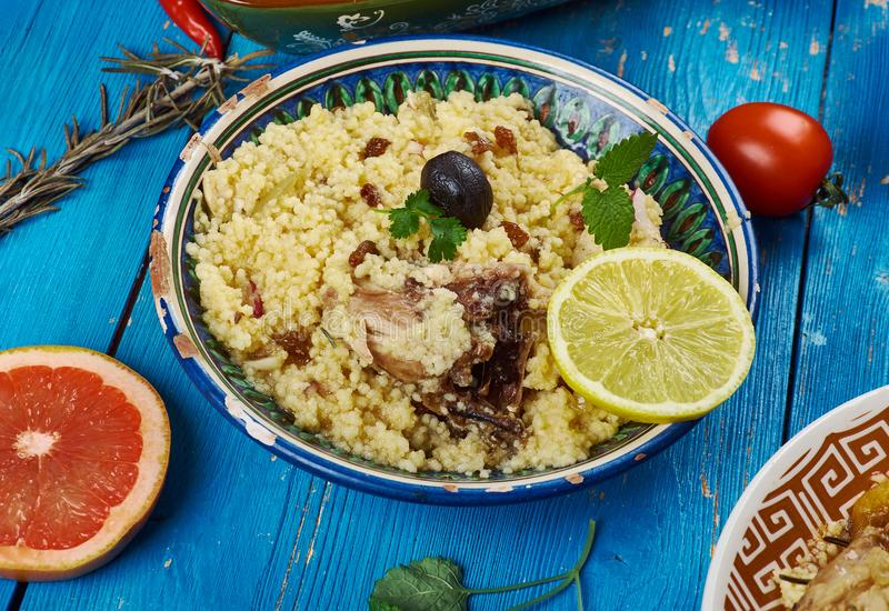 Maghreb Seksu Tanjaoui. Maghreb cuisine . Traditional Seksu Tanjaoui - Couscous in the style of Tangier stock photography