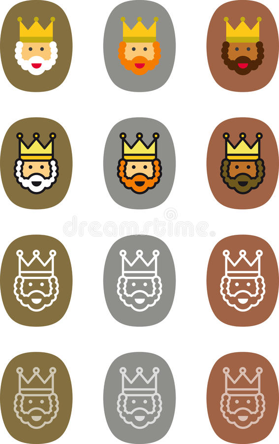 Magi Christmas labels vector illustration