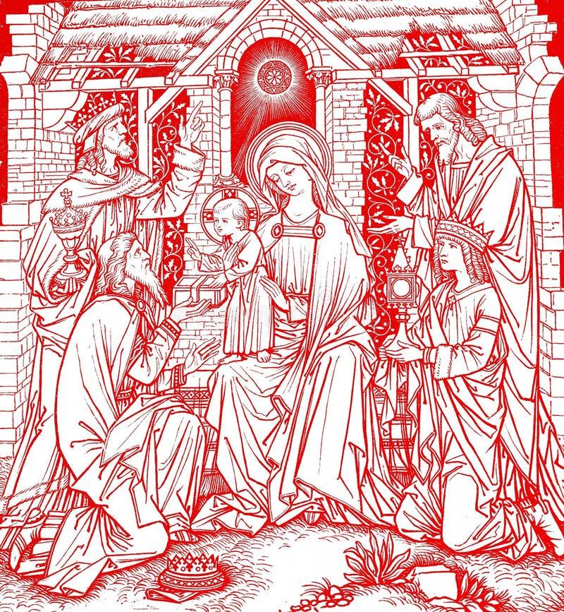 Magi d'arbre dans Noël red- illustration stock
