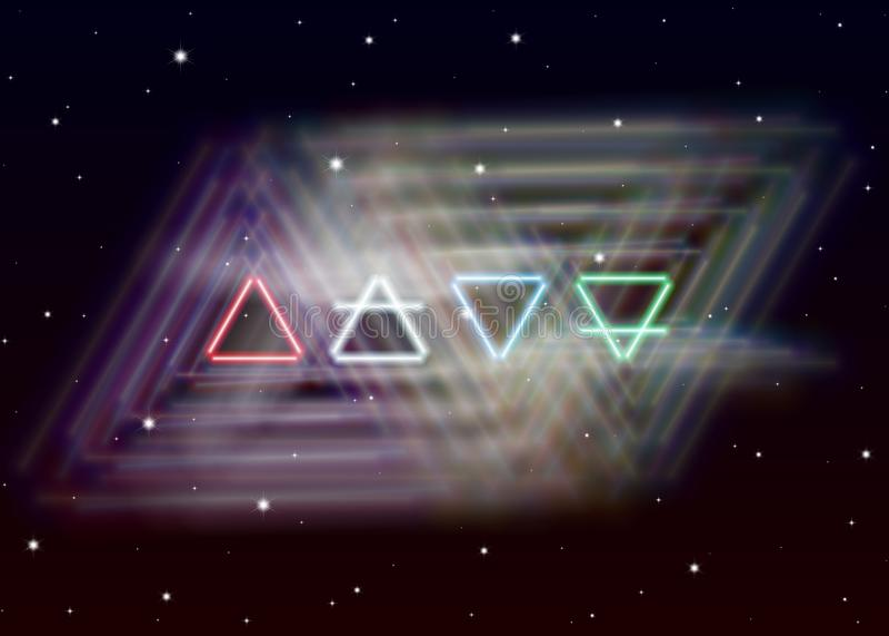 Magi fyra beståndsdelsymbolspridningar den skinande energin för mystiker i andligt utrymme Jord, luft, brand och vatten stock illustrationer
