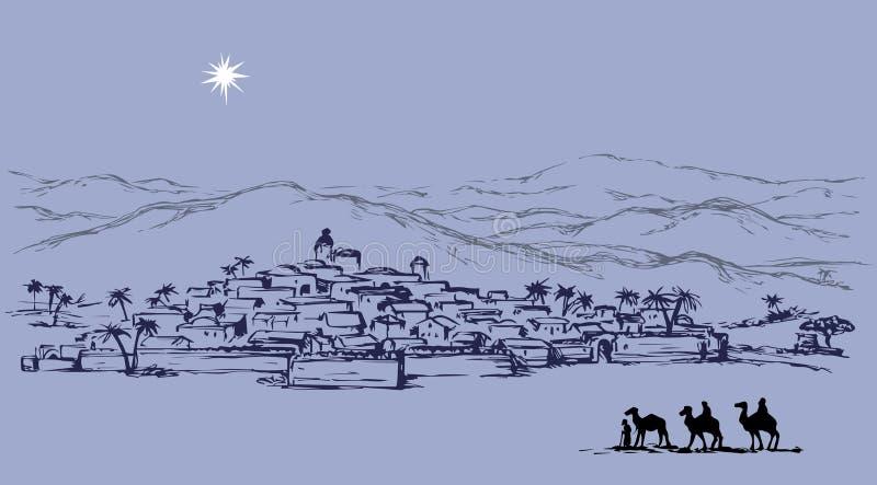 Magi gaat naar Bethlehem Vector tekening royalty-vrije illustratie