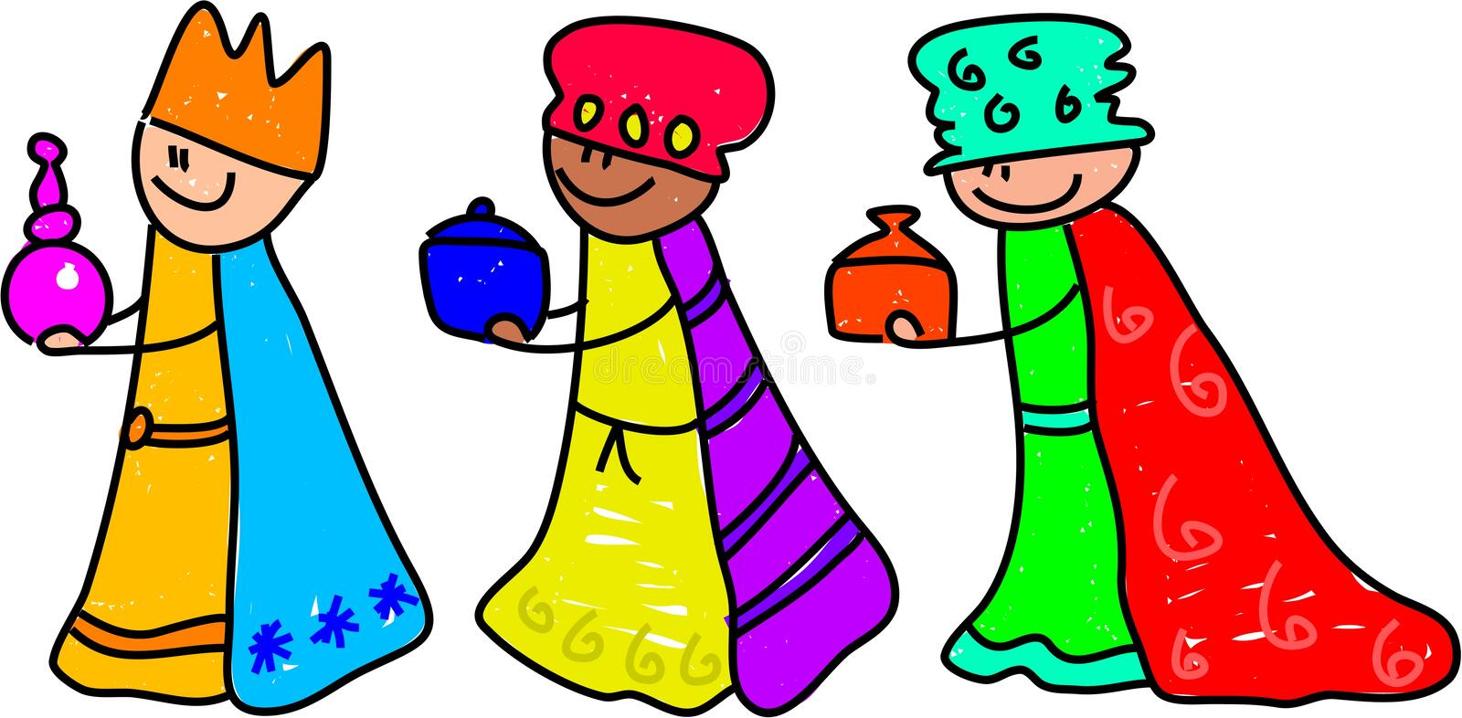 Magi kids. Happy little kids dressed up as the three kings for the Christmas nativity play - toddler art series