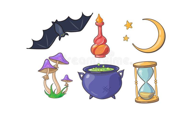Magi- och passtecknet ställde in, magiska beståndsdelar för allhelgonaaftonen, dryckflaskan, halvmånformigt, kitteln, agaricchamp stock illustrationer