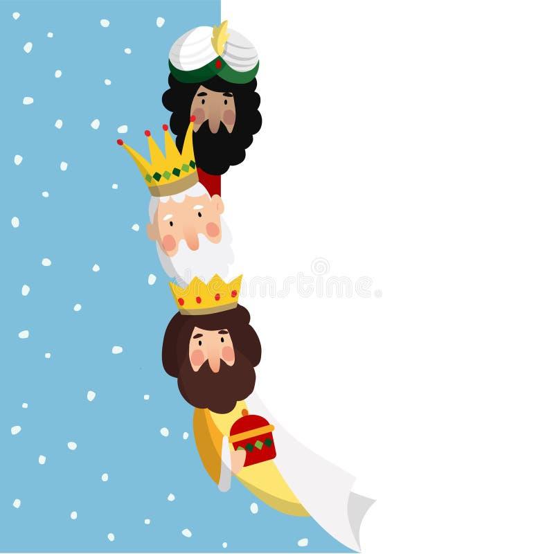magi tre Bibliska konungar Caspar, Melchior och Balthazar Vektorillustrationbakgrund, rengöringsdukbaner för spanjordiameter stock illustrationer