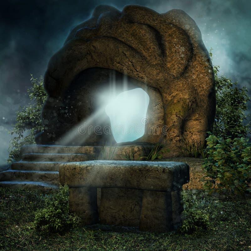 Magi vaggar och ett stenaltare royaltyfri illustrationer