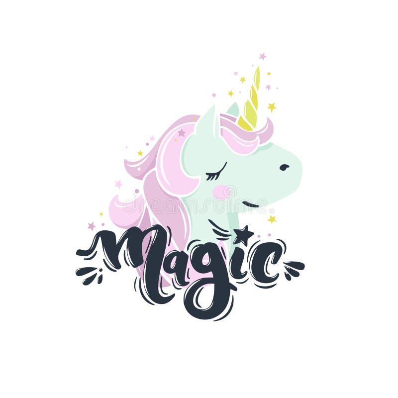 Magia di parola con l'unicorno royalty illustrazione gratis