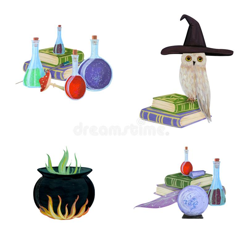 Magia fijada con el búho stock de ilustración