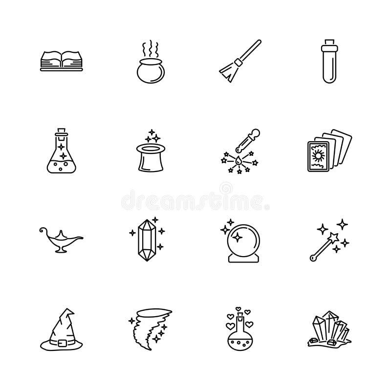 Magia - Iconos vectoriales planos fotografía de archivo