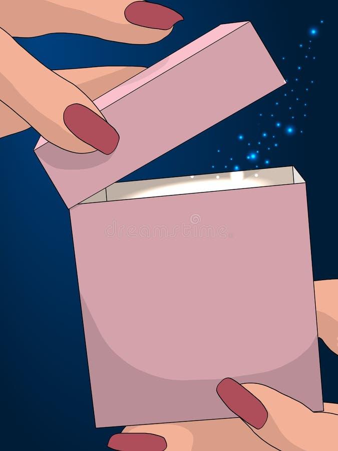 magia Kobiet ręki otwierają prezenta pudełko Abstrakcjonistyczna wektorowa poligonalna ilustracja na zmroku - błękitny tło z gwia ilustracji