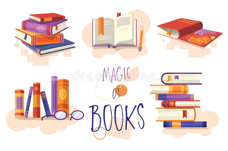 Magia książka set ikony lub projektów elementy pokazuje brogować książki, otwartą książkę dla czytać, rząd na półce na książki, i royalty ilustracja