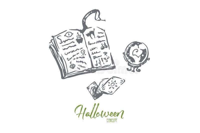 Magia, libro, Halloween, día de fiesta, concepto de la serpiente Vector aislado dibujado mano ilustración del vector