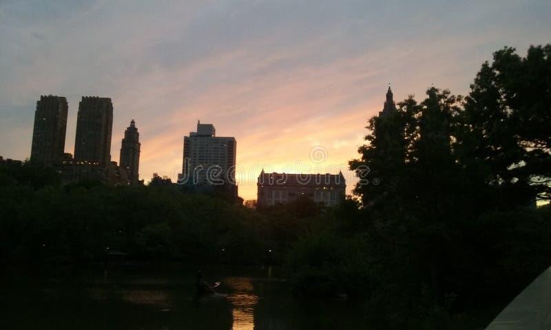 Magia New York City di tramonto di Nyc Central Park fotografia stock
